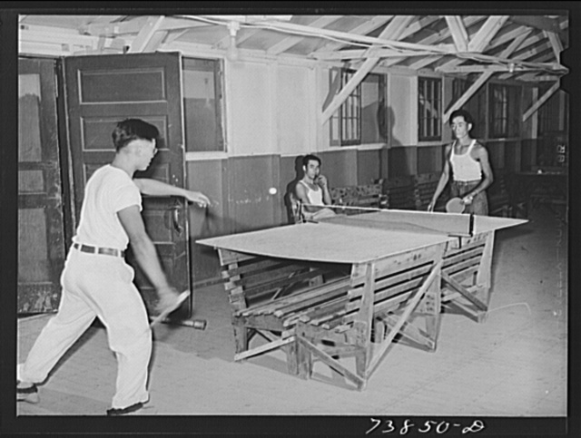 Rupert, Idaho. Former CCC (Civilian Conservation Corps) camp now under FSA (Farm Security Administration) management. Japanese-American farm workers playing ping-pong