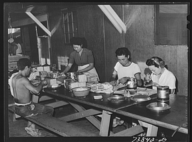 Rupert, Idaho. Former CCC (Civilian Conservation Corps) camp now under FSA (Farm Security Administration) management. Preparing lunches for the Japanese-American farm workers who live at the camp