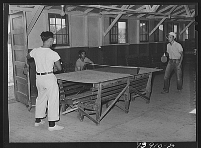 Rupert, Idaho. Former CCC (Civilian Conservation Corps) camp now under FSA (Farm Security Administration) management. The Japanese-American farm workers playing ping- pong