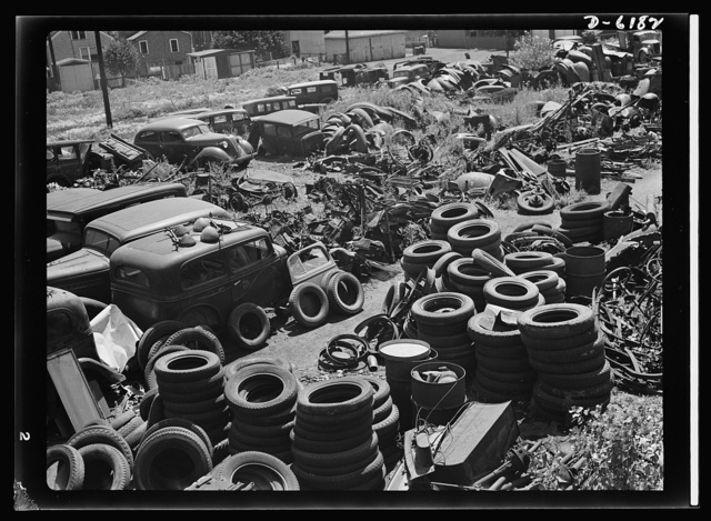 Salvage. Chicago automobile graveyard. Idle scrap: it belongs in the scrap. Covering well over an acre of ground, this automobile graveyard in Chicago holds tons of vital scrap metal and rubber for which Uncle Sam has urgent need in the manufacture of armaments and other war materials
