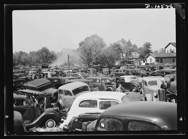 Salvage. Requisitioning auto graveyards. Hundreds of junked cars, containing tons of metal and rubber scrap were denied to the war effort by the Lenox Motor Company whose auto graveyard is at Colmar Manor, Maryland. Donovan, the owner, refused to sell at established junk prices. The material has since been requisitioned by the U.S. government