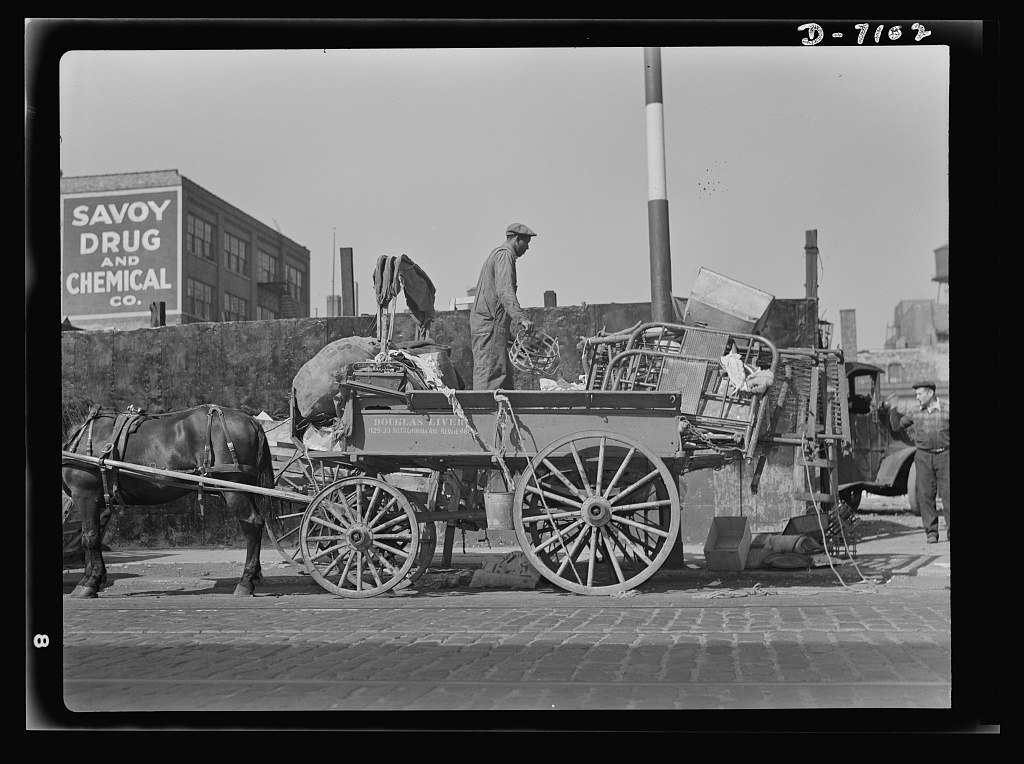 Salvage. Scrap for steel mills. To feed the nation's munitions furnaces, tons of scrap from America's attics and basements are collected every day. Here, a junkman unloads his wagon in a central depot, where the scrap will be segregated and graded for shipment to steel mills