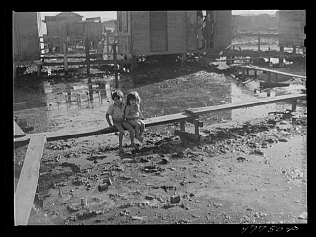 """San Juan, Puerto Rico. Children living in the huge slum area known as """"El Fangitto."""" Improvised """"bridges"""" have been constructed throughout the area as the only means of walking about without wading through the mud, which is very often waist high"""