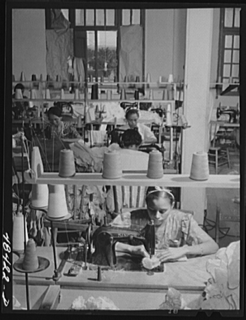 San Juan (vicinity), Puerto Rico. In a needlework factory