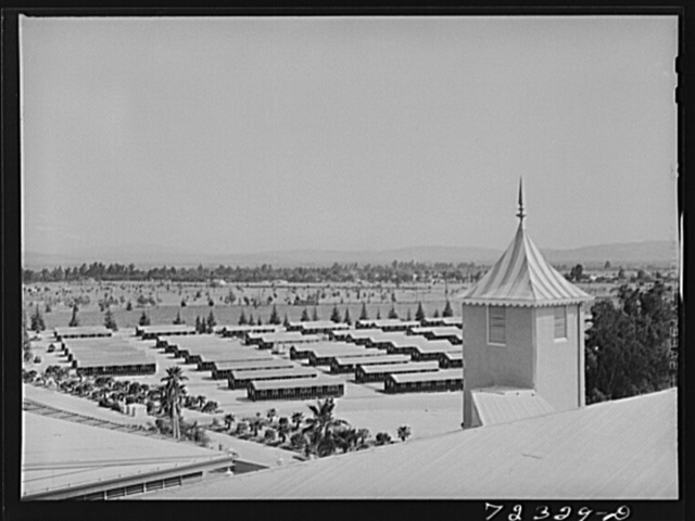 Santa Anita reception center, Los Angeles County, California. The evacuation of Japanese and Japanese-Americans from West coast areas under United States Army war emergency order. Accomodations at the reception center