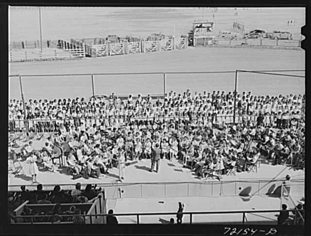 Schoolchildren's victory chorus at the Imperial County Fair, California