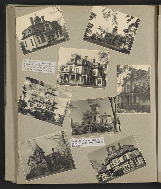 Scrapbook page of some of the photos of houses in New Jersey that appeared in LIFE magazine / picture by Eleanor B. Roosevelt.