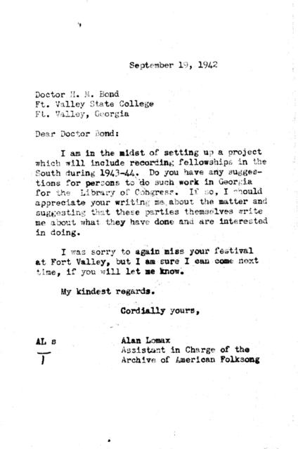 September 19, 1942, letter from Alan Lomax to H.M. Bond