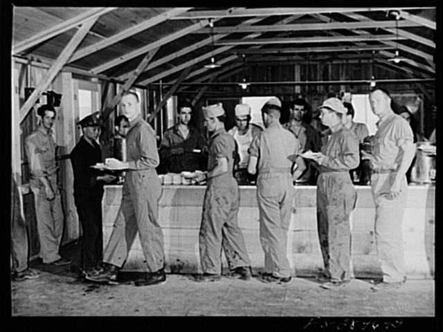Sergeant pilots in training are served in their own mess hall at Lake Muroc, California