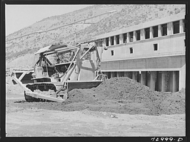 Shasta Dam, Shasta County, California. Bulldozer