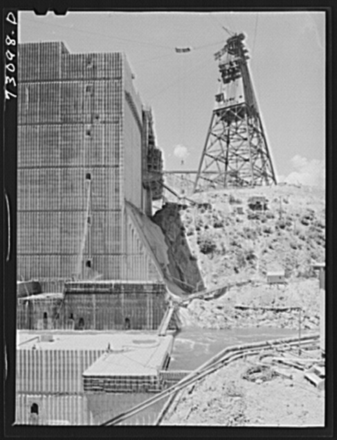 Shasta Dam, Shasta County, California. One side of the dam under construction