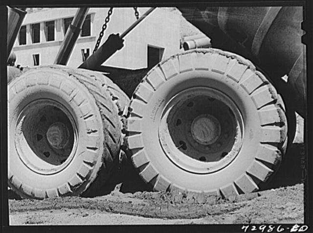 Shasta Dam, Shasta County, California. Tires on dump truck