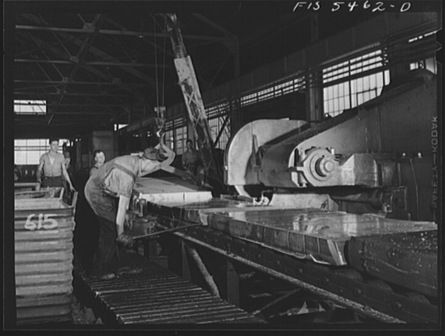 Sheffield, Alabama. Reynolds Alloys Company. Circular saw for cutting up the aluminum slabs