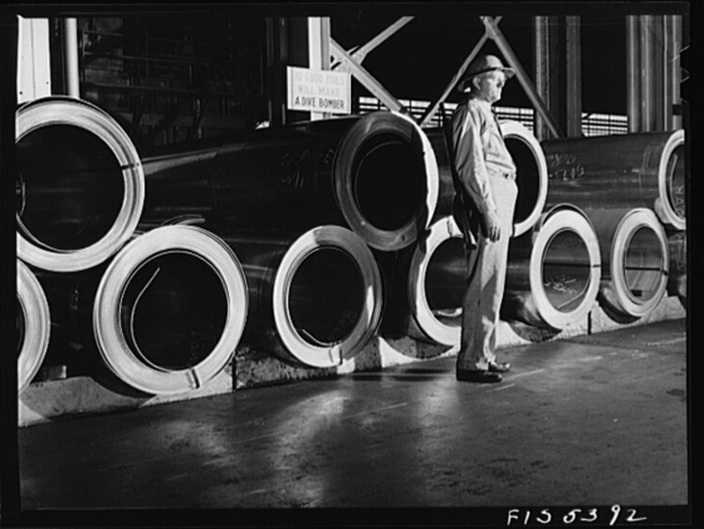 Sheffield, Alabama. Reynolds Alloys Company. Rolls of precious aluminum under guard
