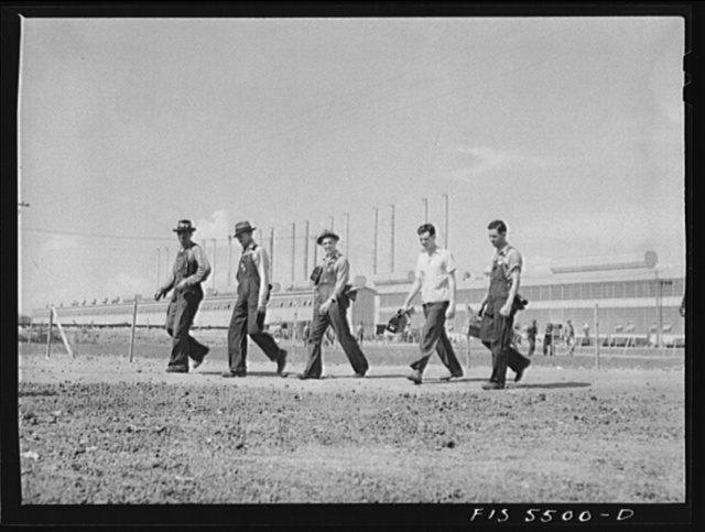 Sheffield, Alabama. Reynolds Alloys Company. Workmen leaving the plant at the end of a day's shift