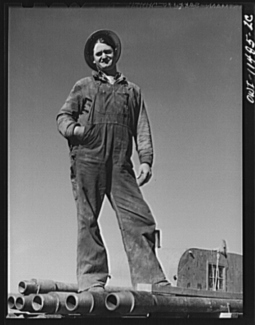 Sherman County, Texas. Roughneck on a core drilling crew