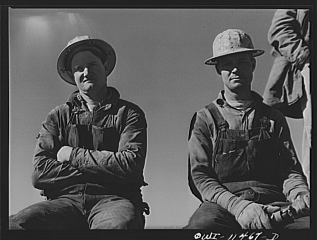 Sherman County, Texas. Roughnecks on core drilling crew for the Phillips Petroleum Company