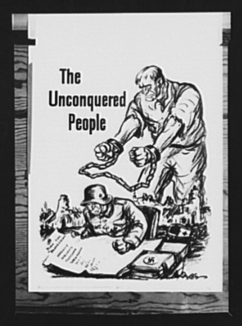 "Sketch from ""The Unconquered People."" One of the illustrations from ""The Unconquered People,"" a twelve page pamphlet published by the Office of War Information (OWI), Washington, D.C., describing the resistance to Hitler on the part of the people of the occupied countries of Europe"