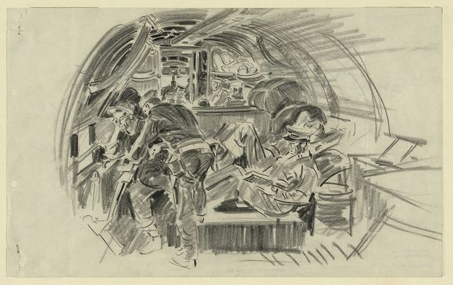 Sketched on a C-47 transport from New Caledonia to Espiritu Santo, Dec. 42
