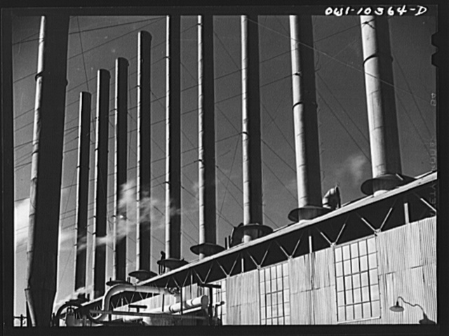 Smokestacks at a boiler house at the Phillips gasoline plant