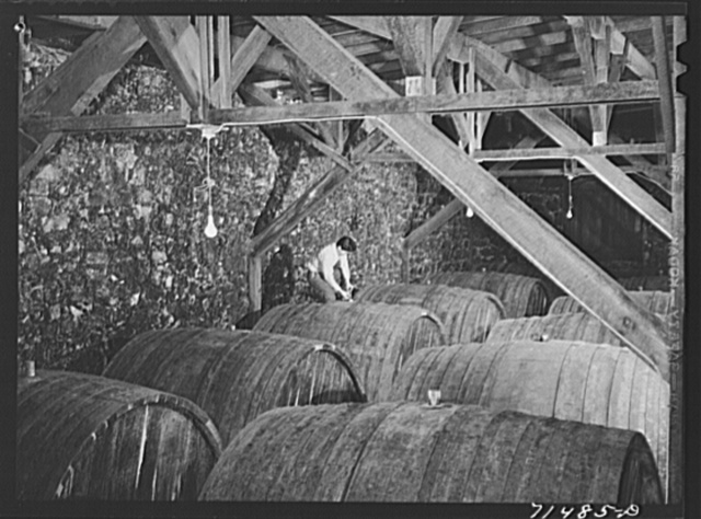 Sonoma County, California. Casks of wine in the winery
