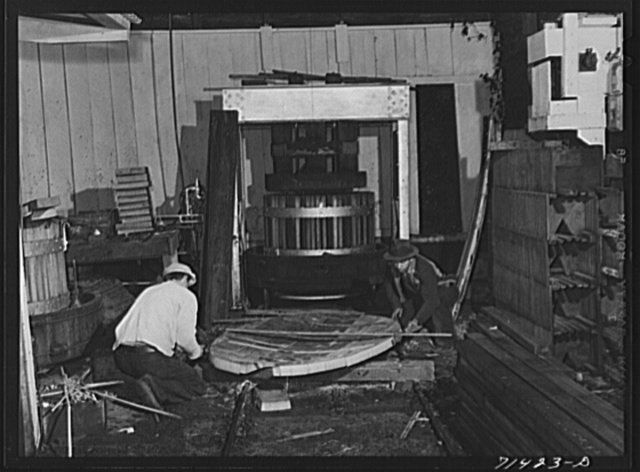 Sonoma County, California. Coopers making head of cask to be used in winery