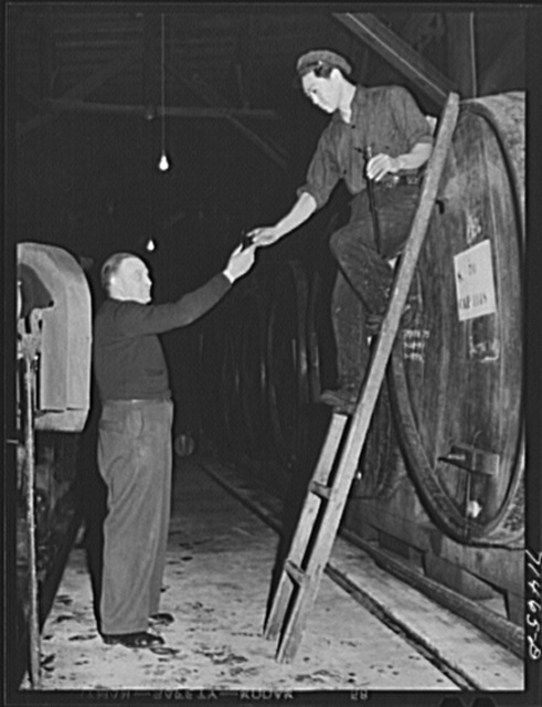 Sonoma County, California. Helper has taken sample of wine from cask and hands it to the winemaster for sampling at the winery