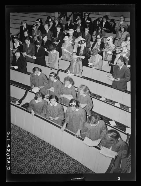 Southington, Connecticut, an American town and its way of life. The vested choir singing at a Sunday morning service