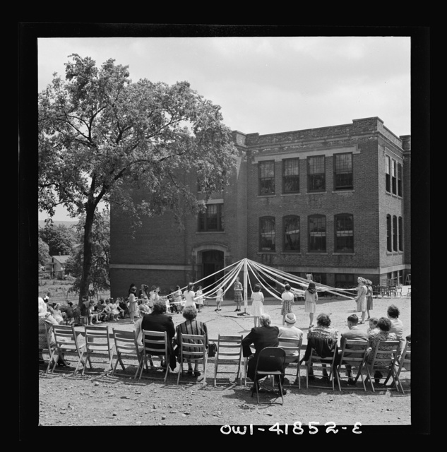 Southington, Connecticut. At Beecher Street School, whose student body consists half of Americans of Italian descent and half of Americans of Polish descent. The Queen of May was Emily Shuvak, of Polish extraction; the King was Philip D'Agostino, of Italian descent
