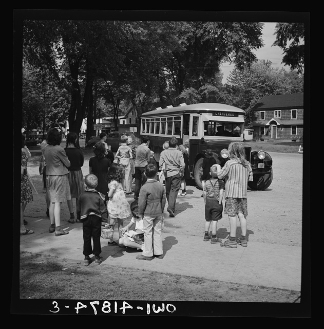 Southington, Connecticut. Bus and children