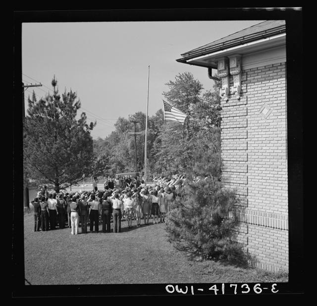 Southington, Connecticut. School children pledging their allegiance to the flag