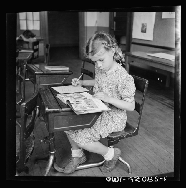 Southington, Connecticut. School girl studying