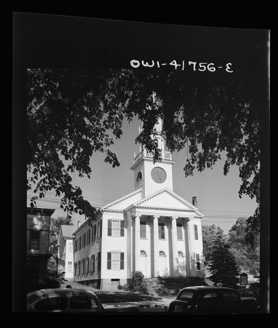 Southington, Connecticut. The First Congregational Church, oldest of the town's eleven churches looks substantially the same as when it was erected in 1830