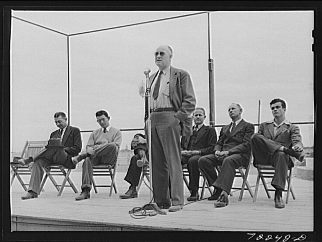 Speakers on Farm Bureau Day at the Imperial County Fair, California