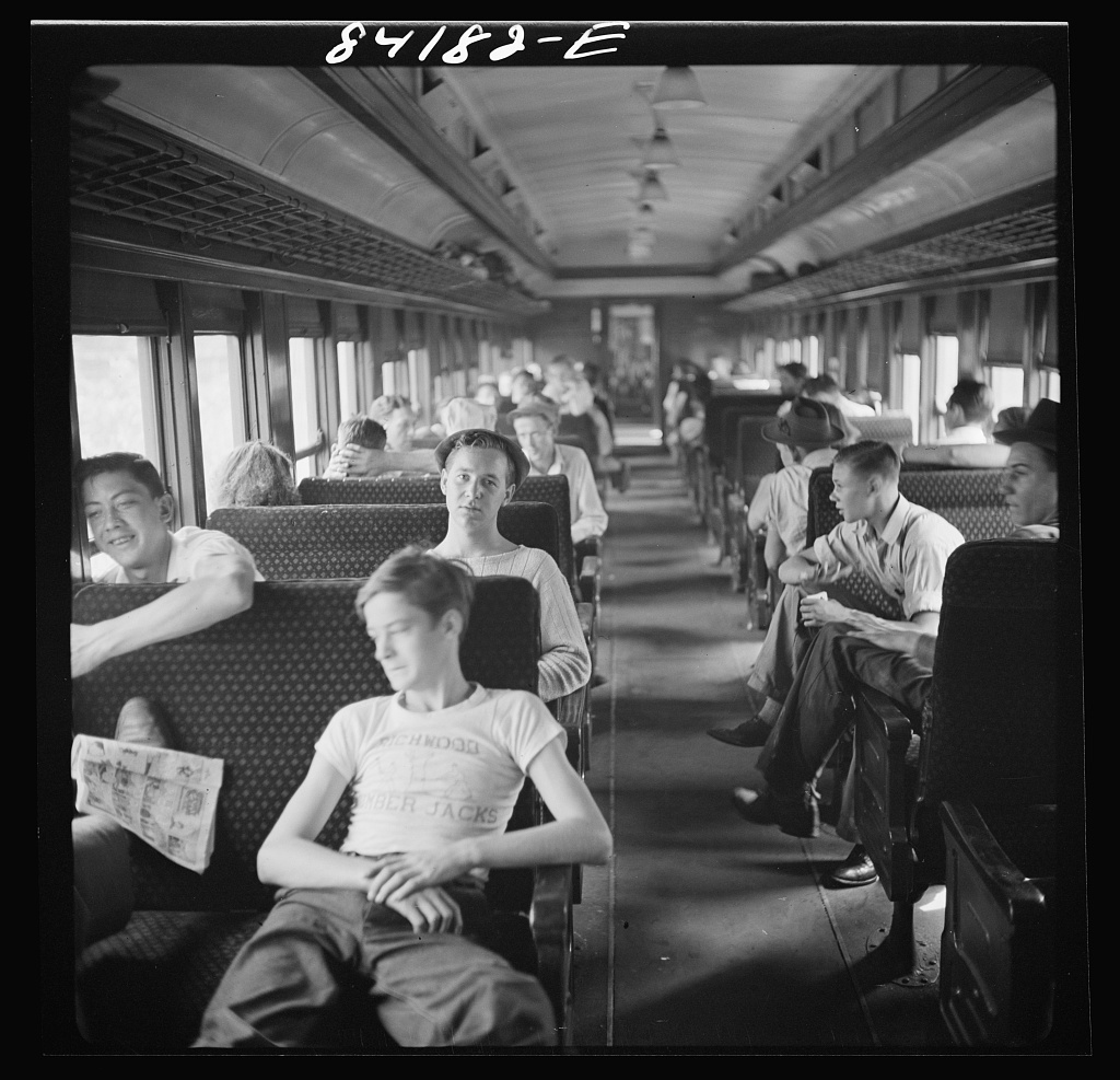 Special train carrying agricultural workers to upper New York state to work in the harvest