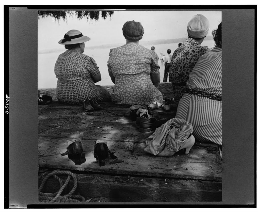 St. Mary's County, Maryland. Sunday school picnic on the edge of the Patuxent River, given by Reverend Mr. Jenkins of All Faith Church, and Mr. Dale, local plumber and electrician, who teaches Sunday school. The church is attended by citizens of Mechanicsville and Charlotte Hall. Some watched while others waded. The water was too shallow for swimming