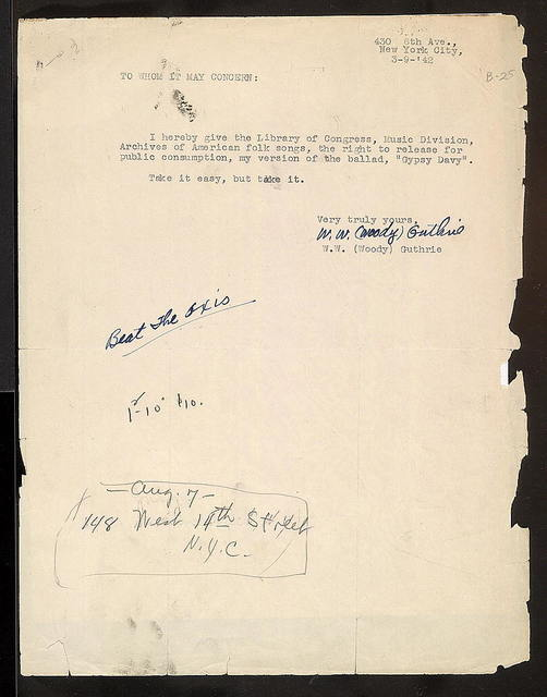 Statement of Permission from Woody Guthrie to Library of Congress, March 9, 1942