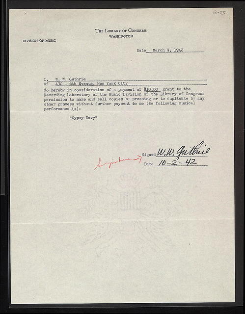 Statement of Permission from Woody Guthrie to Library of Congress, October 2, 1942