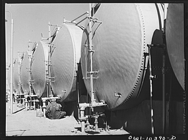 Storage tanks at a gasoline plant