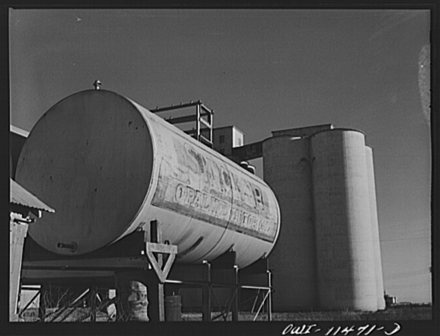 Stratford, Texas. Oil and wheat storage in the Panhandle