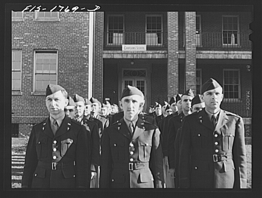 Students of the U.S. Army chaplain school, Fort Benjamin Harrison, Indiana in dress formation