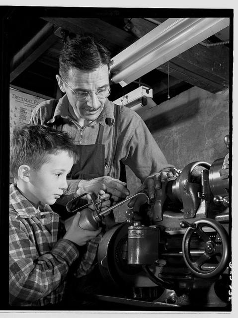 Subcontracting. Passaic home workshop pool. George Carell's seven-year-old son likes to watch his father produce essential war equipment in his Paissaic, New Jersey home workshop. Mr. Carell belongs to a subcontract pool organized by the Howe Machinery Company of his city