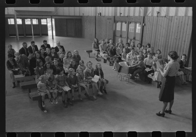 Sunday school, FSA (Farm Security Administration) farm workers community, Woodville, California