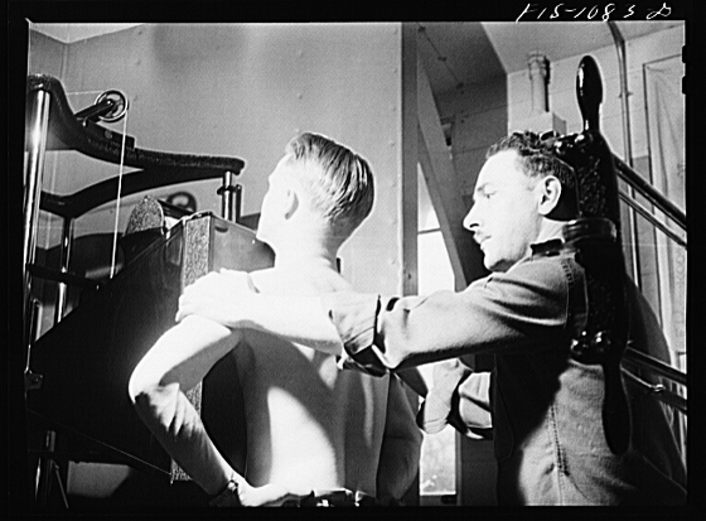 Swedish-American selectee in Minnesota taking a physical examination as he is inducted into the U.S. Army