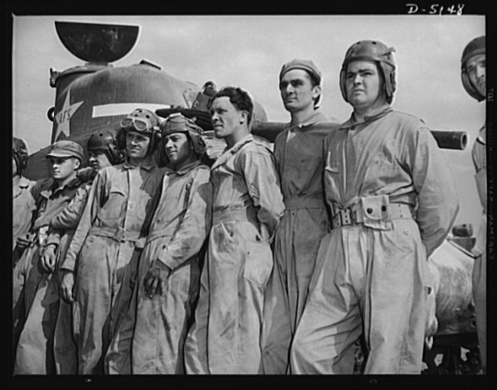 """Tankers,"" the tough, durable lads who man our traveling forts. These men, members of the crews of M-4 tanks, are about ready to graduate from the Fort Knox, Kentucky school for soldiers of the armored forces"