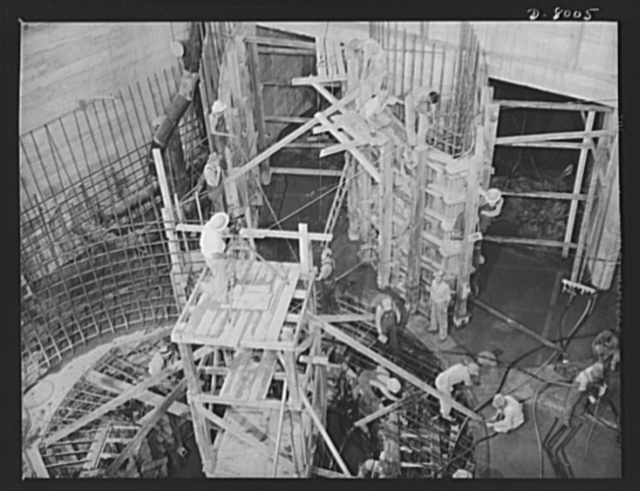 Tennessee Valley Authority. Construction activities on a new generating unit in the new addition to TVA's hydroelectric plant at Wilson Dam. The walls and a portion of the intake can be seen. Located near Sheffield, Alabama, 260 miles above the mouth of the Tennessee River, the dam had an authorized power installation of 288,000 kilowatts, which can be increased to a possible ultimate of 444,000 kilowatts. The reservoir at the dam adds 377,000 acre-feet of water to controlled storage on the Tennesse River system