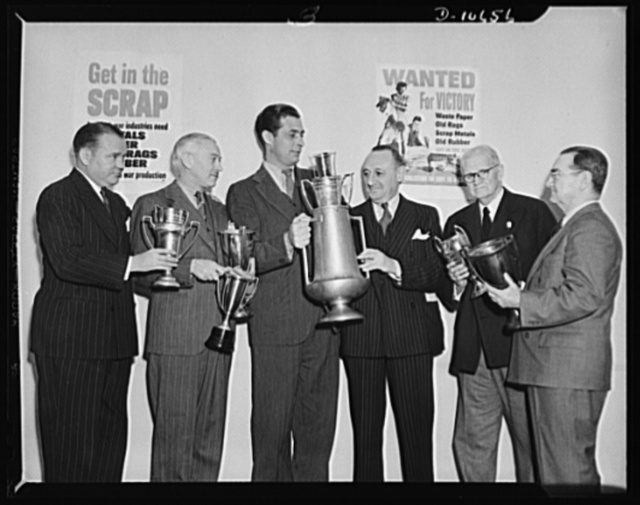 Tennis stars. Left to right: Vincent Richards; Arthur MacPherson, Frank Shields; Clarence H. Low, chairman; S. Wallis Merrihew; and George Elder
