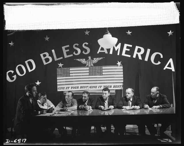 Thanksgiving, 1942. Cooperation in industry. America's employees and employers throughout the country answered the call for more production for victory by setting up 1,650 labor-management councils, representing more than 3,200,000 workers. These committees concentrate their united energies on improving production, speeding operations, reducing absenteeism, and eliminating waste. Here, a labor-management committee of the Anthracite industry in Pennsylvania confers on the ways and means of increasing production in the mines