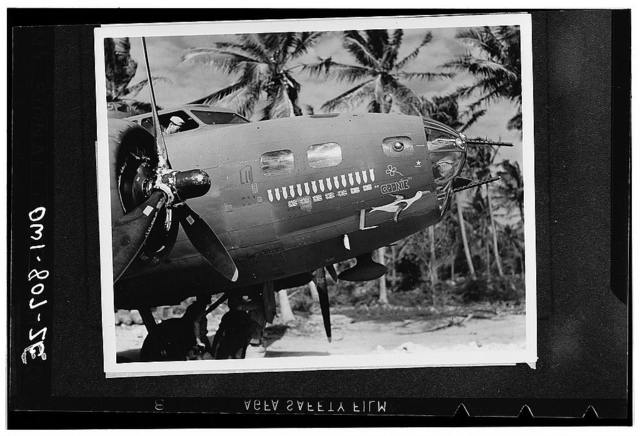 The Flying Fortress Goonie has seven Jap Zeros to her credit in 15 combat missions in the South Pacific. This is not an unusual record for these American Air force fighting bombers