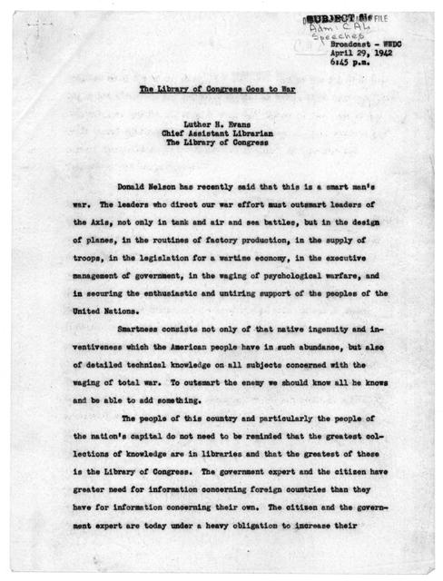 """""""The Library of Congress Goes to War,"""" by Luther Harris Evans, April 29, 1942"""